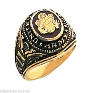 New-Men-039-s-10-or-14k-Yellow-Gold-United-States-US-Army-Military-Ring
