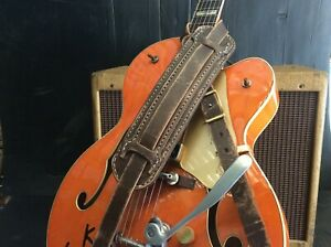 Genuine-leather-relic-style-finish-guitar-strap-handmade-hand-stitched
