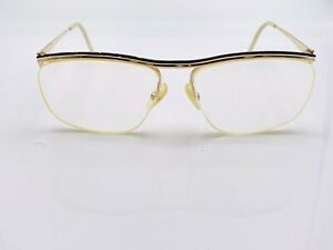 Vintage-115-42-Black-Gold-Metal-Oval-Half-Rimmed-Sunglasses-FRAMES-ONLY