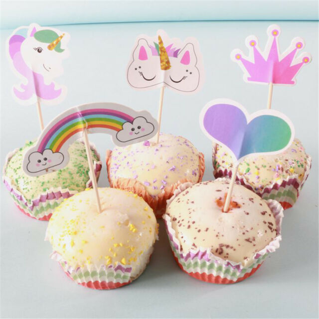 20pcs Unicorn Party Cupcake Topper Cake Picks Birthday Party Baby