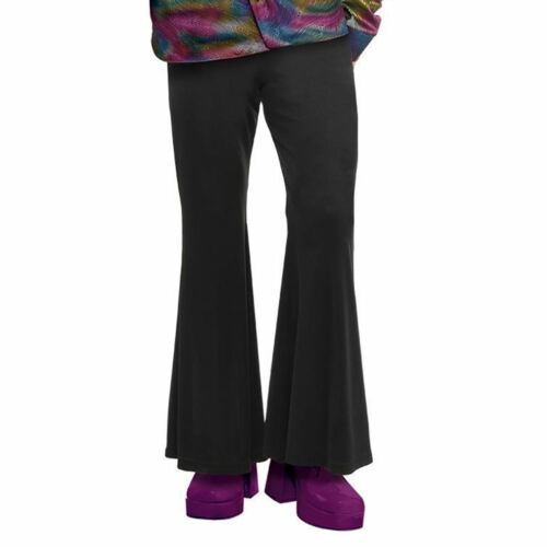 Adult Mens Medium Black Hippy Bell Flare Flared Trousers 1970s Disco Fancy Dress