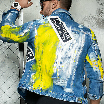 Franco By Alina Mexton Uomo Giacca Jeans Denim Giacca Farbklecks Print Zipper S M L Xl-mostra Il Titolo Originale