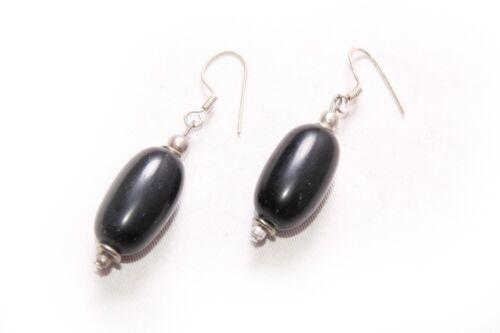 T216 Precioso Boho súper sencillo Negro Oval colgantes pendientes para el uso diario