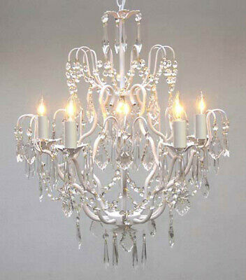Wrought Iron Crystal Chandelier Lighting Country French White Ceiling Fixture Ebay