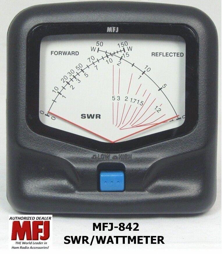 New MFJ 842 SWR/Wattmeter VHF/UHF 140-525 MHZ, 150 Watts Mobile, Cross-needle meter.