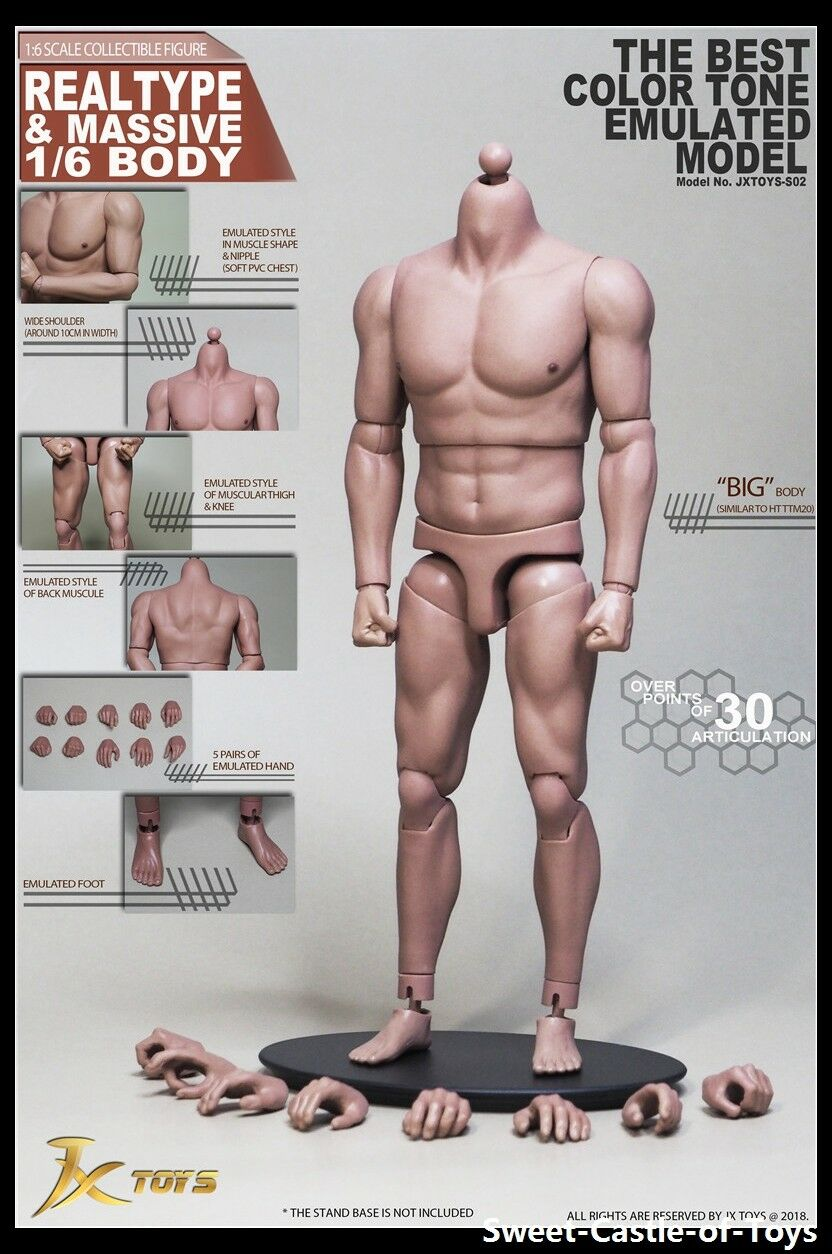 1 6 JxToys Accessory Realtype Male Asian Strong Body S02 For Hot Toys DAM