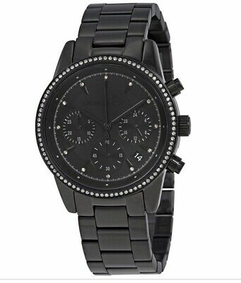 Michael Kors MK6438 Women's 'Ritz' Quartz Stainless Steel Black Watch 796483288751 | eBay