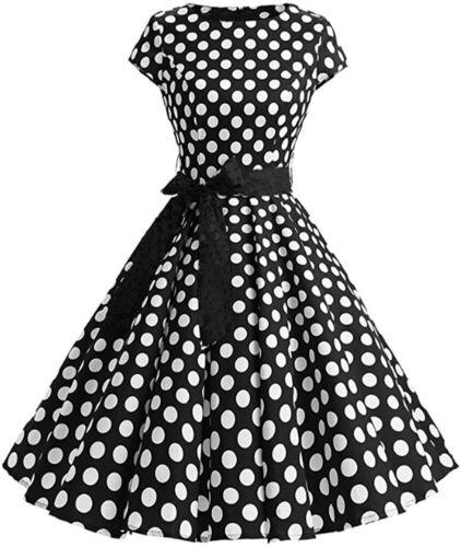 Z793-k2sw B-Ware Femmes rockabilly robe robe de fete robe de cocktail noir taille 46