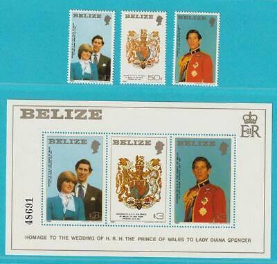 Belize Royal Wedding 1981 ** Postfrisch Minr. 554-556 A + Block 32 SorgfäLtig AusgewäHlte Materialien