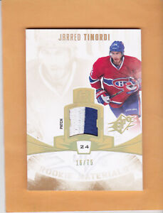2013-14-SPX-JARRED-TINORDI-ROOKIE-MATERIALS-SP-75-PATCH-RM-JT-CANADIENS