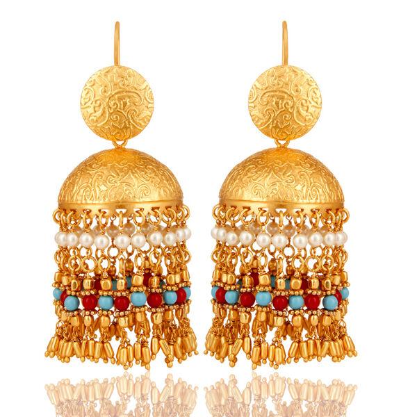 Fashion Women's 18K Yellow gold Plated Beaded Gemstone Classic Jhumki Earrings