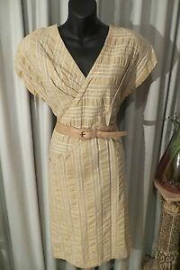 VINTAGE-80-039-s-does-50-039-s-HARRY-WHO-Beige-Cream-Wedge-DRESS-Belt-Size-10-12