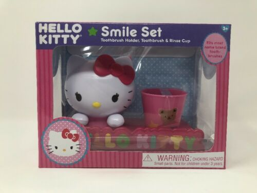 Hello Kitty Smile Set Toothbrush with Holder Rinse Cup Kids Bathroom Decor NEW