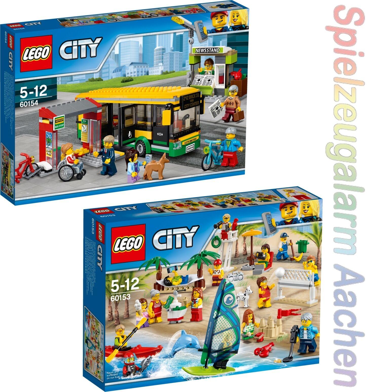Lego 60153 60154 City Plage personnes  gare routière Bus Station  Beach ïn n7 17