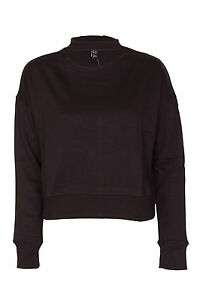 Womens Plain Round Neck Choker Crop Top Hoodie Sweatshirt Cut Out ... 00f7aff6d