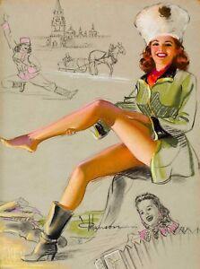 "Vintage Pin Up  Puppy Bath Art 12 x 12/""  Photo Print"