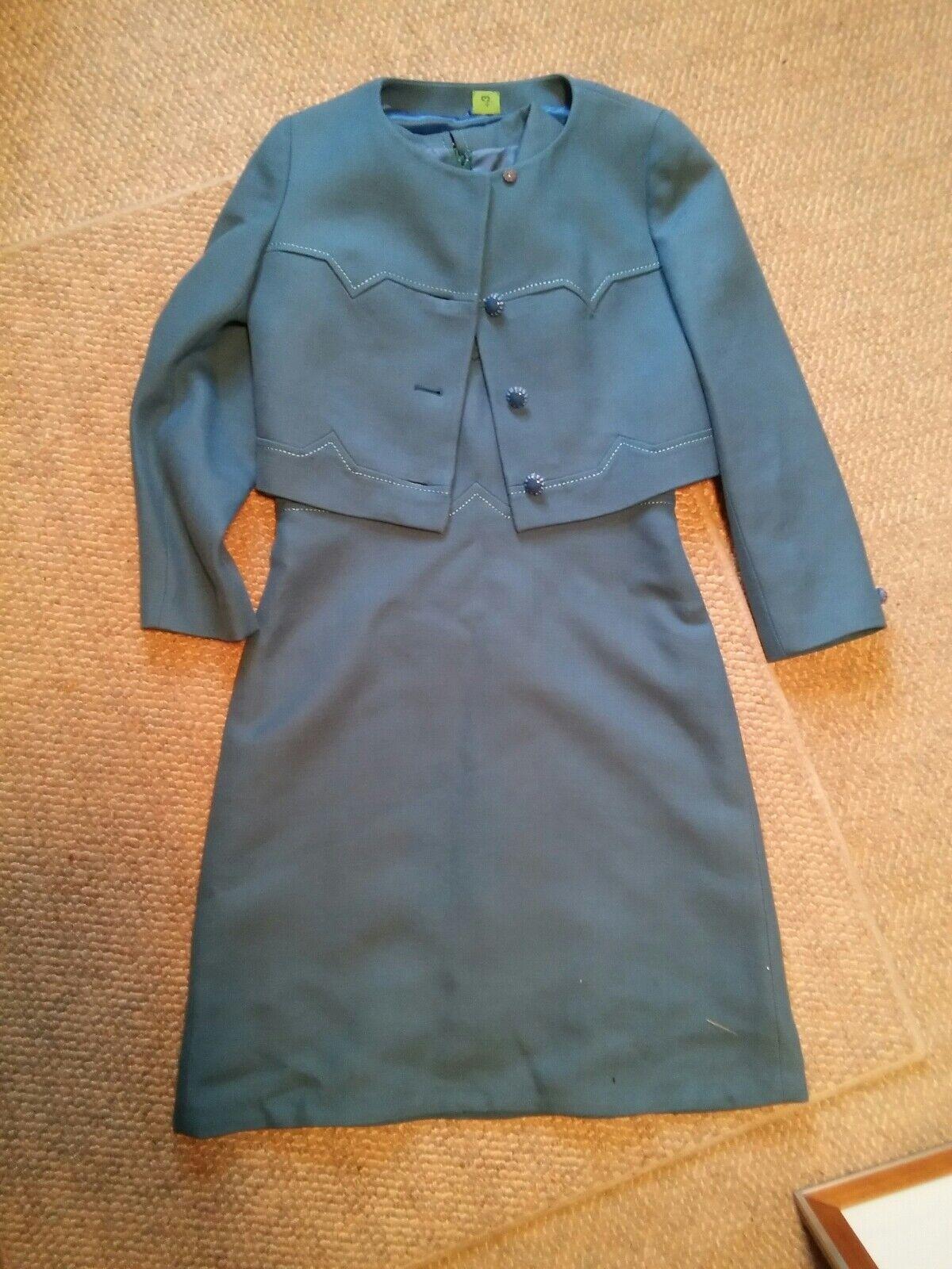 015 VTG Aubrey Segal 100% Wool 2 Piece Jackie O Style Dress Coat Combo Lt Blue