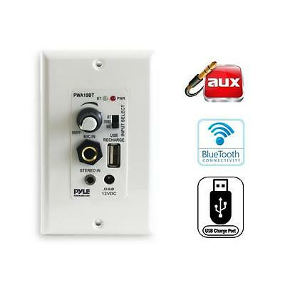 Microphone Speaker Terminal Block Connect 2 Speakers In-Wall Audio Control Receiver with Built-in Amplifier Aux 3.5mm Pyle Bluetooth Receiver Wall Mount PWA15BT Input USB 100 Watt