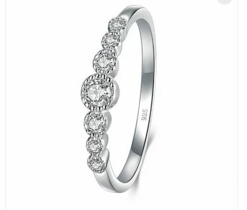 Engagement Wedding Band Ring size N CZ BORUO 925 Sterling Silver Ring