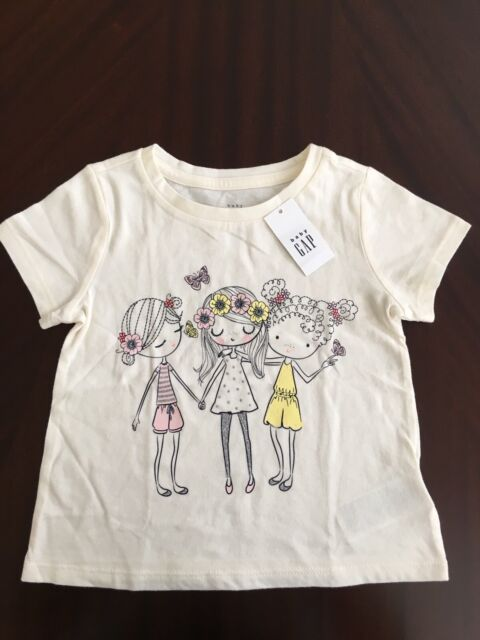 1b2302d0c NEW Baby Gap Toddler Girl Graphic T Shirt Girls Friends Flowers Soft Cotton  4T