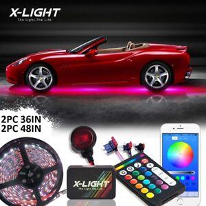 4pc RGBW SLIMLINE LED NEON UNDERBODY UNDER GLOW CAR LIGHTS KIT MUSIC+ BRAKE MODE