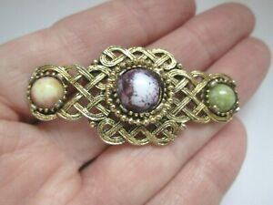 Vintage-Celtic-Knot-Scottish-Irish-Welsh-Gold-Tone-Bar-Glass-Brooch-Kilt-Pin