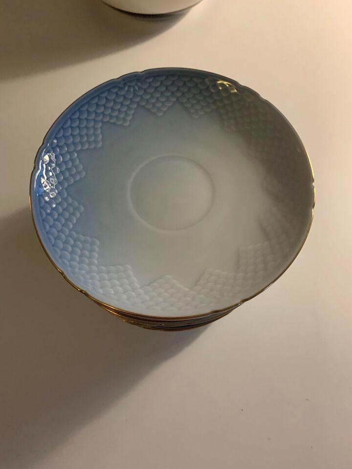 Porcelæn, Blandet Mågestel med guldkant 2.sort, Bing og