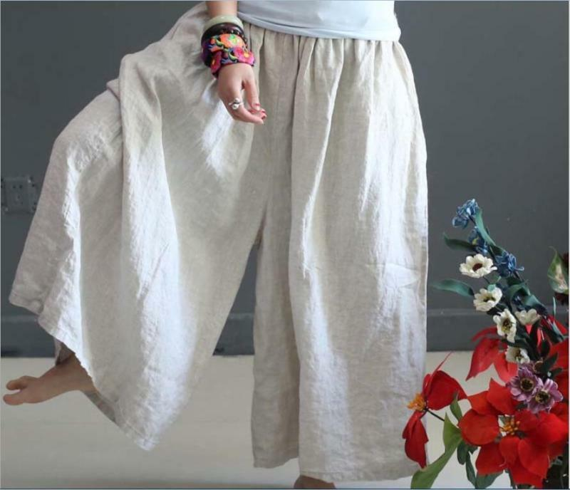 Ladies flax loose wide leg pants cotton linen long pants trousers free size hot