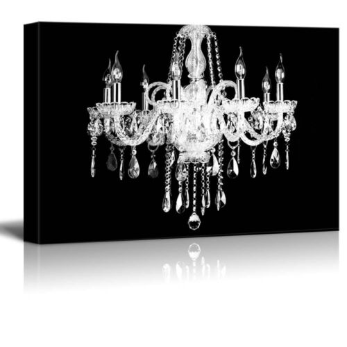 """Crystal White Chandelier on Black Background 12/""""x18/"""" wall26 Canvas"""
