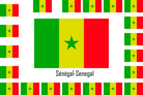 Assortiment lot de 25 autocollants Vinyle stickers drapeau Sénégal