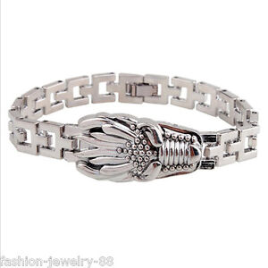 Stainless-Steel-Men-Dragon-Head-Wristband-Bracelet-Watchband-Clasp-Cuff-Bangle