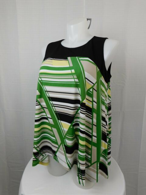e2126046465b2 Alfani Plus Size Sleeveless Geometric Printed Swing Top 0X Black-Green  5288