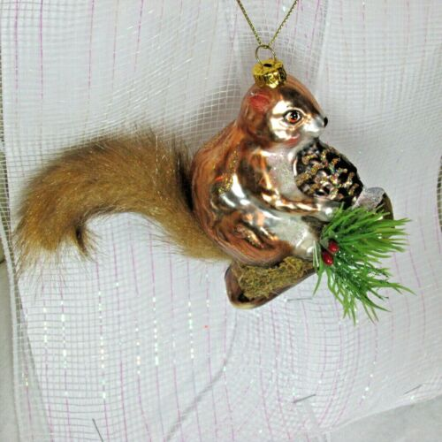 New Blown Glass Brown Squirrel Woodland Lodge Animal Christmas Ornament