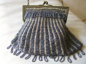 Bags, Handbags & Cases Clothing, Shoes & Accessories Antique Art Deco Gold Pierced Floral Frame Tan Knit Copper Peacock Bead Purse