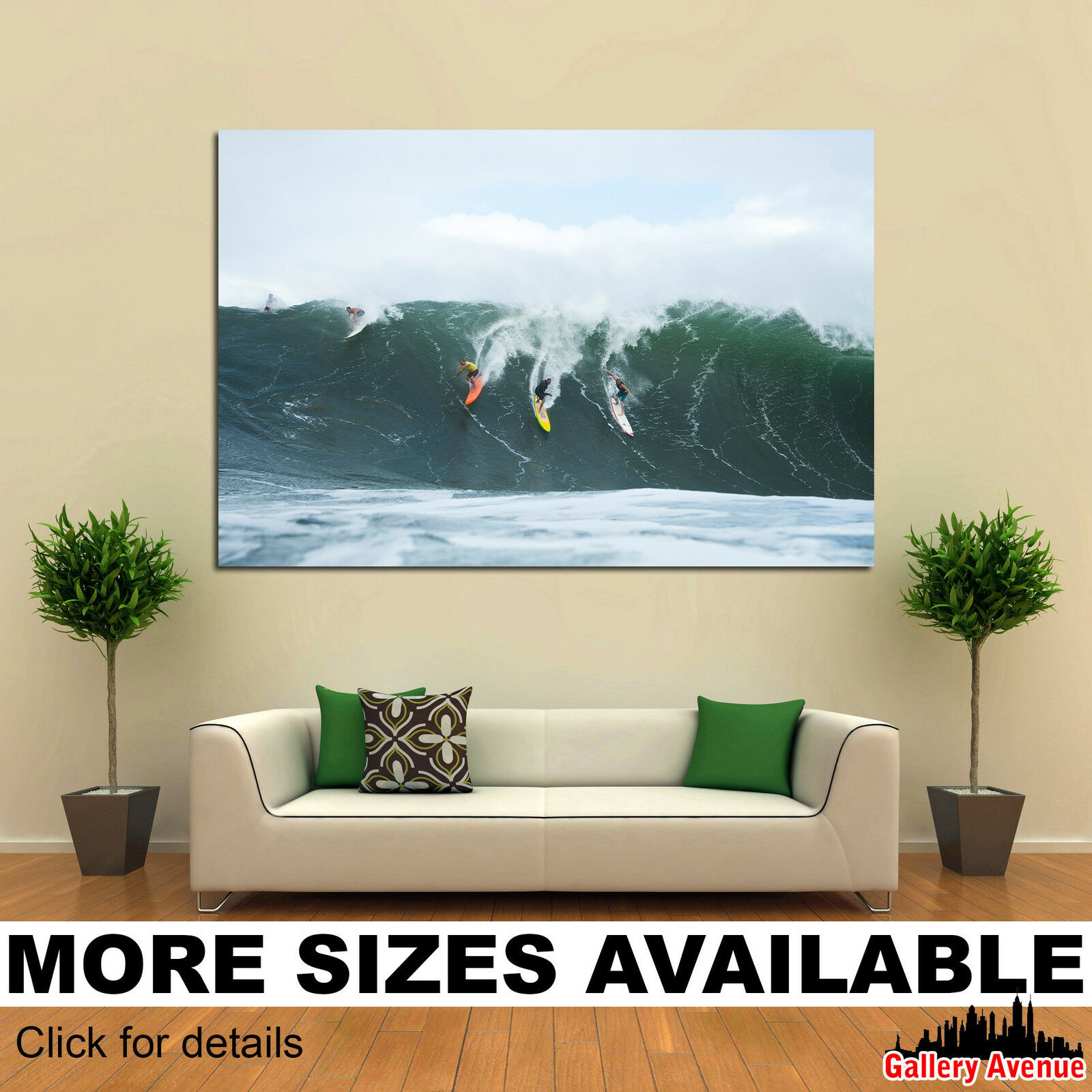 Wall Art Canvas Picture Print - Surfers on Wave Surfing 3.2