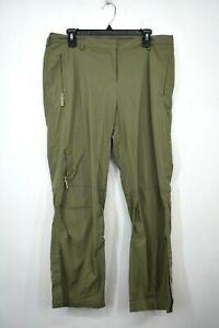 J Jill Womens Green Stretch Pants Straight Leg Front Zip Cargo Inspired 14