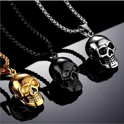 2019 Men Fashion Punk Hip-hop plated Gold skull Necklace Stainless steel Jewell