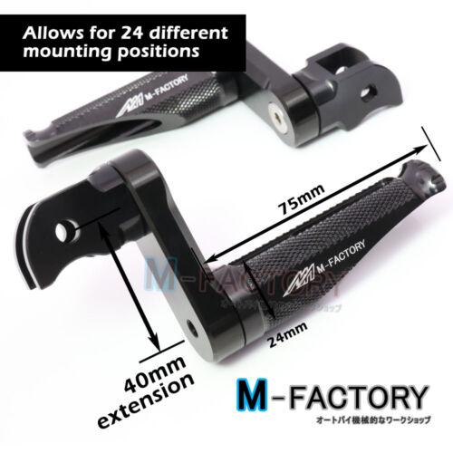 Shinobi Black Adjustable Front Footpegs 40mm for Suzuki GSF 1250 Bandit 07-13