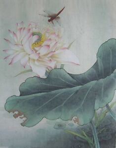 Original Gongbi Style Chinese Painting On Paper Lotus Flower 1378