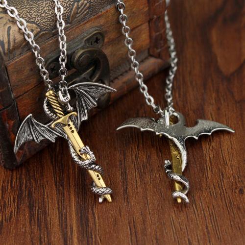 Edelstahl Leucht Fly Dragon Schwert Anhänger Kette Halskette Herren Sch  ar