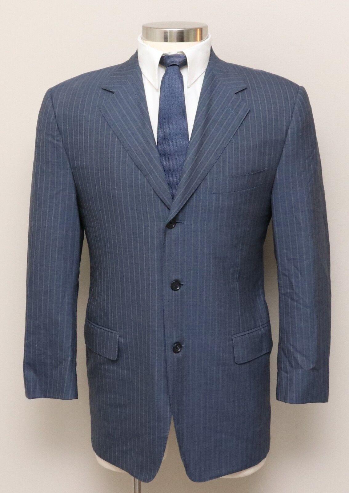 Herren 40R Canali Blau/Grau Stripe 100% Wool Blazer