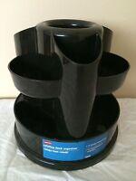 Staples Rotating Desk Organizer - 10 Storage Compartments - Black
