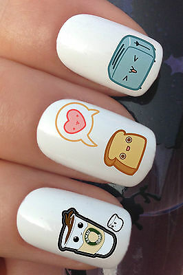 NAIL ART SET #336 x24 KAWAII BREAKFAST CUTE TOAST WATER TRANSFER DECALS STICKERS