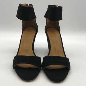 Coclico-Black-Suede-Ankle-Strap-Wedges-Size-38-US-8