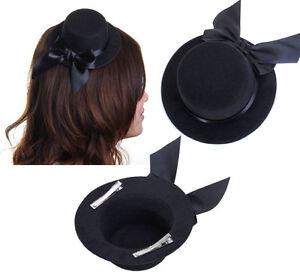 Black-Ladies-Mini-Clip-on-Top-Hat-Fascinator-Burlesque-Millinery-w-Bowknot
