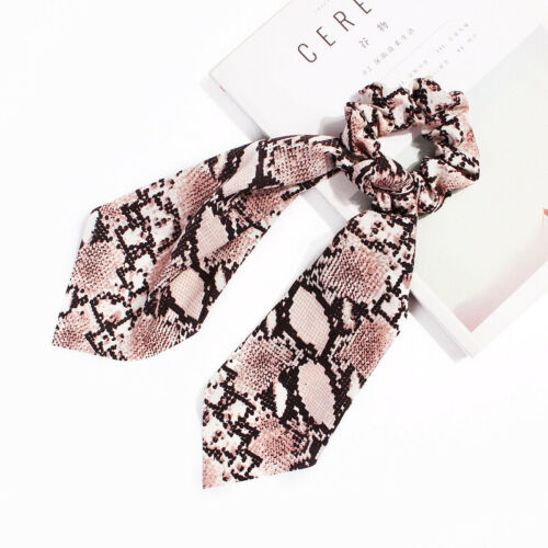 Hair Rope Ponytail Leopard Scarf Bow Satin Hair Band Ties Ribbon Scrunchies