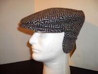 Irish Tweed Cap Black Grey Ear Neck Flap Hanna Hats Donegal Ireland S - 3xl