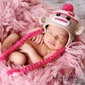 Melondipity Girl Sock Monkey Crochet Baby Hat Brown Pink Beanie Ears ... 9fc66ff93da