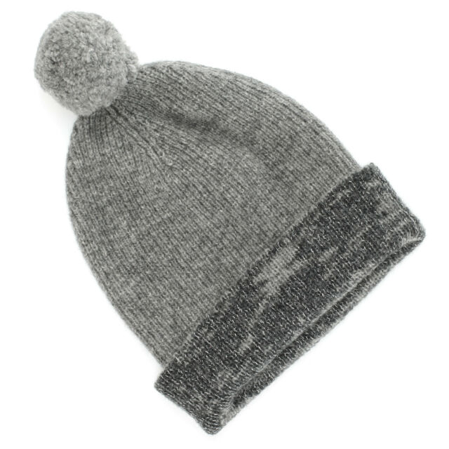 Buy Simply Vera Wang Gray Heather Beanie Hat With Pom Silver ... c3fcaa44c95