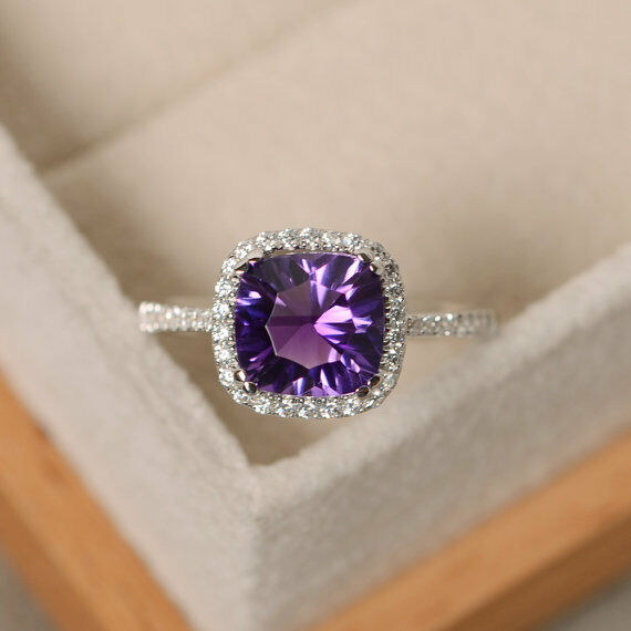 14K White gold Cushion Amethyst 2.70 Ct Real Diamond Wedding Ring Size 5 6 7 8